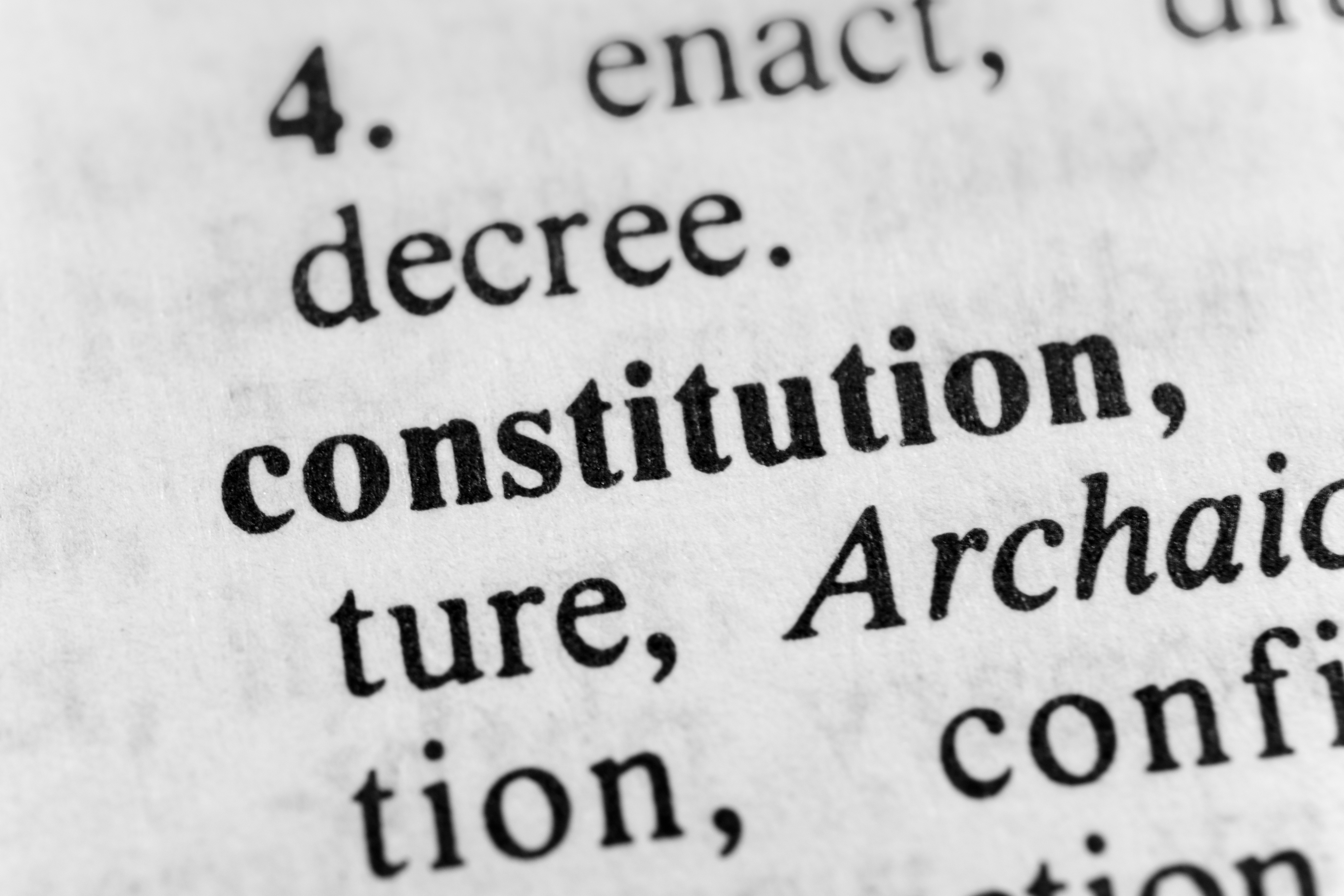 closeup of text of constitution document